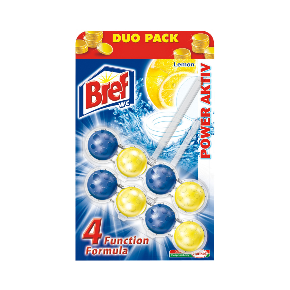 Bref Power Aktiv 4 Formula Lemon WC blok Duopack 2x51 g